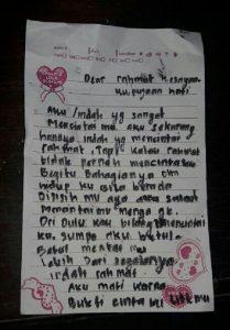 Inilah Isi  Surat Cinta Indah br Siregar kepada Sang Pacar Rahmad